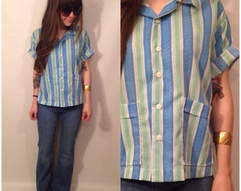 Vintage 70s Blue, Green, White Button Up Smock Stripes Blouse Retro Pockets Size Small / Medium