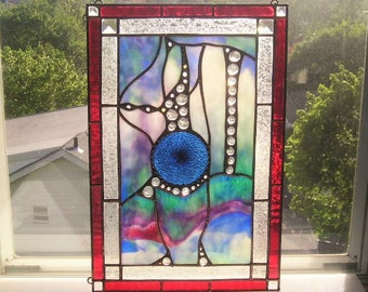Stained Glass Art Panel|Abstract Art Panel|Blue|OOAK|Art & Collectibles|Glass Art|Panels|Handcrafted|Made in USA