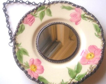 Stained Glass Mirror|Vintage Plate|Home and Living|Home Decor|Mirrors|Franciscan China|Desert Rose|Roses|Stained Glass|Handcrafted|Made in U