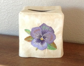 Watercolor Flowers - pansy, tulip, daisy, and poppy- machine embroidery on a tissue box cover