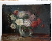 20 % off Beautiful Large antique french OIL PAINTING on canvas depicting a Bouquet of Dahlias signed Stuck - old master flower painting -