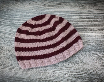 Baby Beanie Hat, Plum, Soft Lilac, Size 3-6 months, Hand Knit, UK Seller, Baby Gift, Ready to Ship
