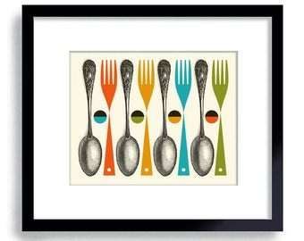 Kitchen Art Print, Mid Century Modern Kitchen Decor, Colorful Cooking Art Fork and Spoon Chef Art Kitchen Utensils Modern Art Wall  Art