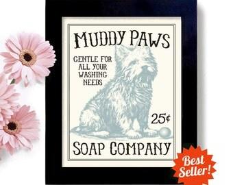 Westie Dog Laundry Room Decor West Highland Terrier Art Sign Wall Art Print Washing Machine Mud Room Laundry Soap
