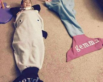 Personalized shark and mermaid snuggies