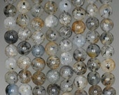 6MM Rare Inclusion Quartz  Gemstone Grade A Brown Round 6MM Loose Beads 15.5 inch Full Strand (90183528-788)