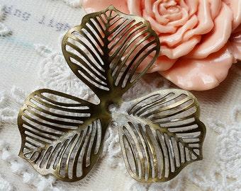 45 mm Antique Bronze Leaf Filigree Findings (.s)