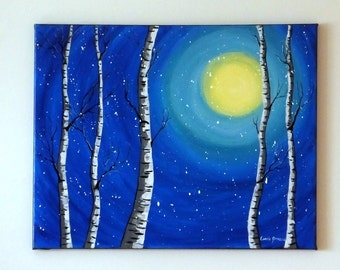 """MOON AND TREES- Moonlit Night White Birch Tree Original Acrylic Painting, 16"""" x 20"""" Wrapped Canvas, Abstract Art Landscape Painting"""