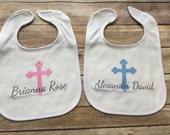 Name Christening Baptism Bib (Custom Text Colors/Wording)