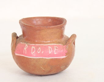 Small Old Mexican Pottery Two Handled Bowl Jug Home Decor