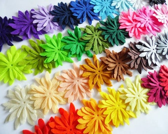 Felt Flower. 102 pieces. Felt Shapes, Die Cut Shapes, Applique, Party Supply, DIY Wedding,