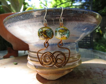 """The Ancient Dance - Handmade copper and glass bead earrings - 2"""""""