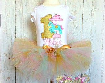 Carousel birthday outfit - 1st birthday carousel tutu outfit - carnival themed outfit - gold, pink, and mint carousel birthday tutu