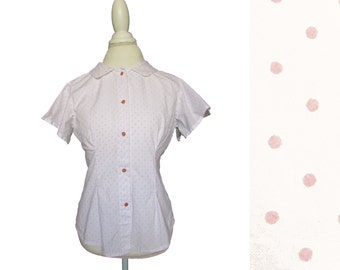 Vintage Polka Dot Blouse // 60s Polka Dot Blouse  // 60s Polka Dot Top  // 1960's Blouse  // 1960s Top  // M/L