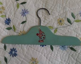 Baby Hanger -- Wood -- Green with Clown -- Child's Wood Hanger