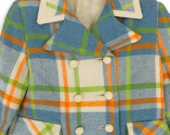 Child Mid Century Mod Plaid Swing Double Breasted Town and Country Coats Division of  Kute Kiddies Coats, Inc.