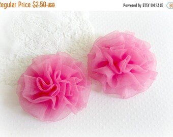 ON SALE Pink Organza Flowers. 2 Pieces
