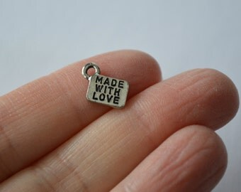 5 Made With Love Charms. Antique Silver Tone Charms. Pewter Charms. Tiny Tag Charms. USA Made Charms.  11mm x 8.5mm.