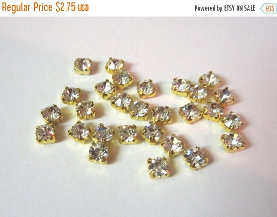 Sale 4mm Clear Glass Sew on Rhinestones in Gold colored Settings-- 4MM.  50 Pcs