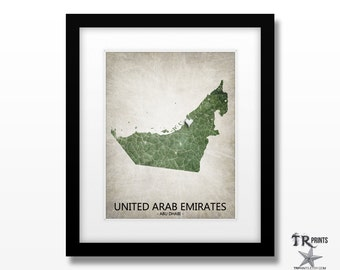 United Arab Emirates Map Art Print - Home Is Where The Heart Is Love Map - Art Print Available in Multiple Size and Color Options