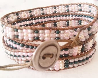 4x wrap bracelet. vintage turmaline color leather, seed bead mix, green