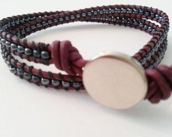 Dpuble wrap bracelet, blue hematit color seed bead wrap bracelet, burgundy leather wrap