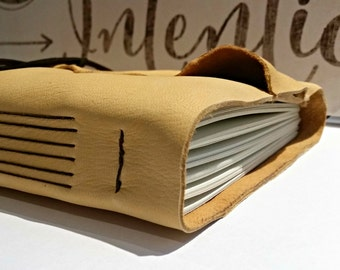 """Large Leather Journal - Golden Honey Journal 6"""" x 9"""" by The Orange Windmill"""