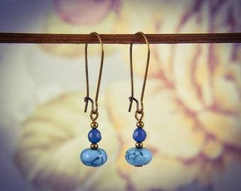 Turquoise and Teal Apatite Long Bronze Gemstone Earrings [E72]