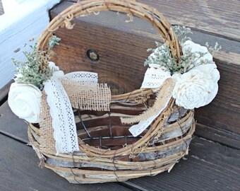 Flower Girl Basket, Ready To Ship, Birch Basket, Rustic Wedding, Sola flowers, Handmade