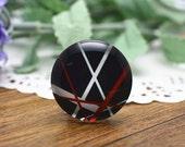 4pcs 25mm Round Handmade Photo Glass Cabochon - Stripes