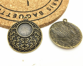 Cabochon Base -10pcs Antique Bronze Cabochon Setting Pendant 12mm DIY Charms H503-6