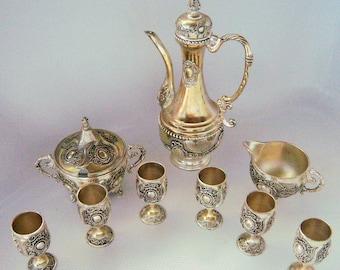 Vintage Silver Plate Espresso Tea Set Goblets Ornate 9 Pc. Sugar Creamer Pitcher Coffee Turkish Romantic