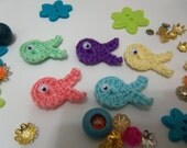 Handmade Crochet Fish Appliques. Crochet Fish Appliques. Set of Eight.