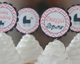 12 Baby Shower Coral & Navy Chevron Vintage Buggy Stroller Cupcake or Cake Toppers - Party Pack Sale - Free Ship 65.00