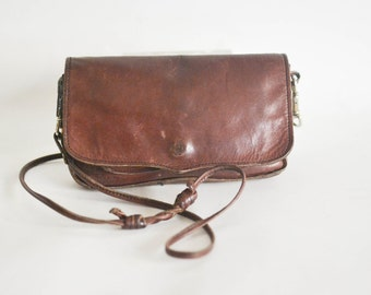 Vintage Brown Leather Mini Bag - Small Handmade Vintage Purse - Wallet String Bag