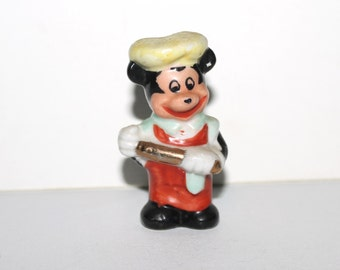 Vintage 50s hand painted Mickey Mouse porcelain cook chef figurine