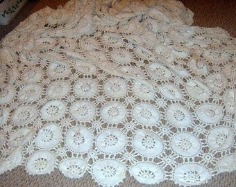 Vintage, Crochet Tablecloth, Throw, Bed Spread, White Crochet,