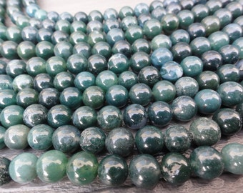 8mm Green Moss Agate Beads Round Smooth Full Strand 16 inch