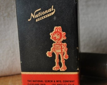 Nat the Robot - National Screw & Mfg Company Advertising Box - Mid Century Red and Black Vintage Hardware Box - Fun Robot Graphic