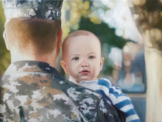 CUSTOM PORTRAIT - Custom Painting - Oil Painting  - Family Portrait - Military Dad - Perfect Gift