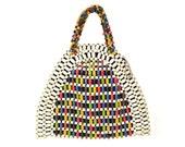 Reserved for Bevmason // 1940's Czech Wood Beaded Handbag by Schowanek // Multi-Color Wooden Beads, Double Handles, Zipped Lining