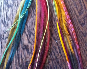 SET of 3 Feather Hair Extensions//Feather Hair Clip//Hair Feathers//Boho Hippie//Party Favours
