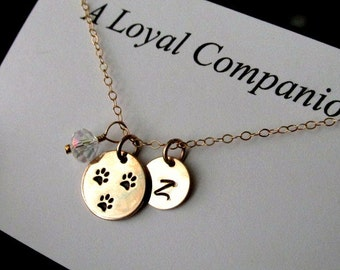Custom dog necklace personalized dog initial pet remembrance necklace 14kt gold fill Crystal accent paw print jewelry gift dog lover gold