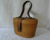 Etienne Aigner Summer Bucket Basket Purse/Vintage 1970s/Woven Box Handbag/Hand Crafted With Leather Straps/Nantucket Basket Style