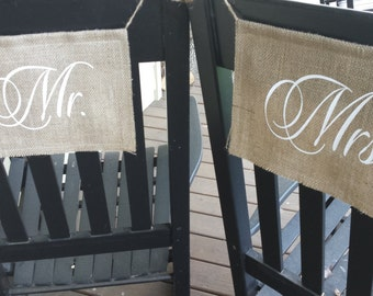 Burlap Chair Banners, Mr and Mrs Chair Banners, Chair Banners, Mr and Mrs Sign, Burlap Wedding, Rustic Wedding, Double Burlap