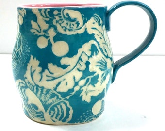 FLORAL Design on Hand Made MUG - SGRAFFITO Carved Flowers - Cup Mug Coffee Tea - Stoneware Art Pottery