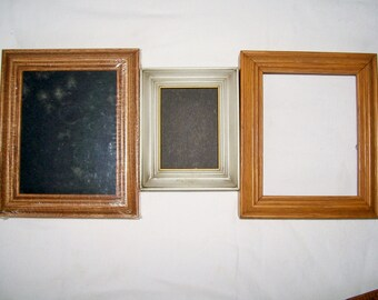 "3 SOLID WOOD FRAMES -- 2 Oak 3.5"" x 5"" -- 1 Whitewashed 2""x 3"" -- 1 New & Sealed"