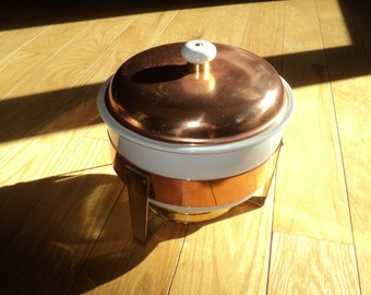 Vintage Copper, Brass and White Ceramic Crock Pot Chafing Set in Very Good Condition with wonderful well developed patina, Mid Century Style