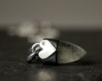 Actinolite Quartz Bullet and Heart Necklace in Sterling Silver