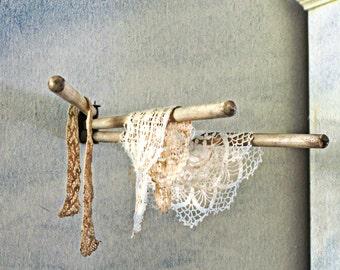 vintage wood swing arm towel rack, 1950s, kitchen decor, flower drying rack, farmhouse decor, potting shed decor